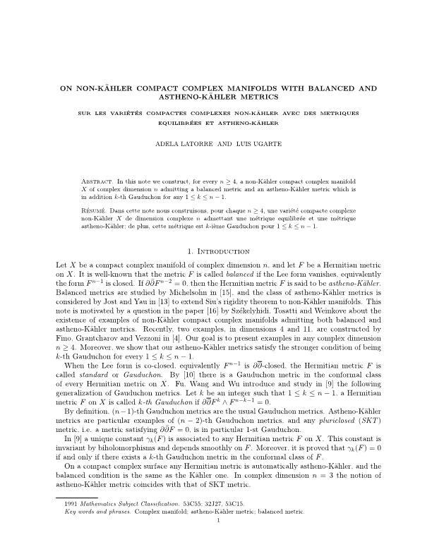 On non-Kähler compact complex manifolds with balanced and Astheno-Kähler metrics [Sur les variétés compactes complexes non Kähler avec des métriques équilibrées et Asthéno-Kähler]