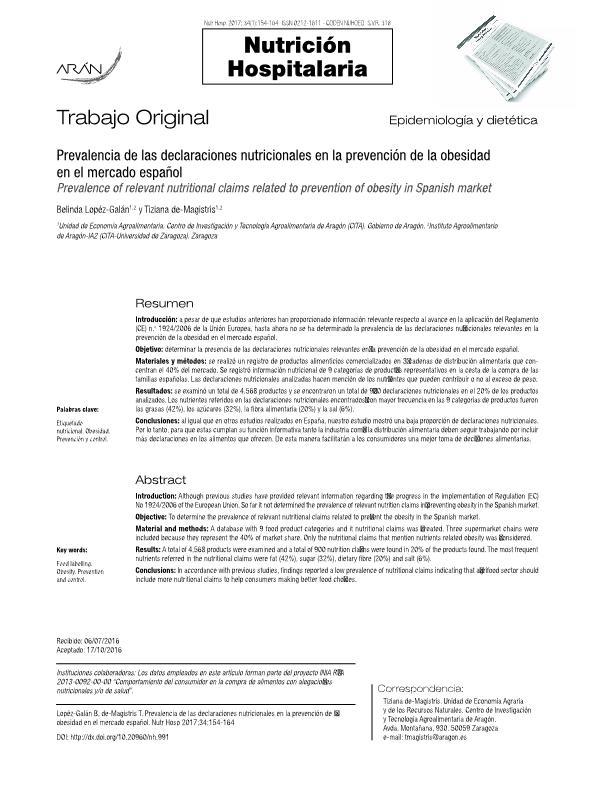 Prevalencia de las declaraciones nutricionales en la prevención de la obesidad en el mercado Español