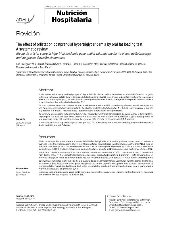 The effect of orlistat on postprandial hypertriglyceridemia by oral fat loading test. Asystematic review