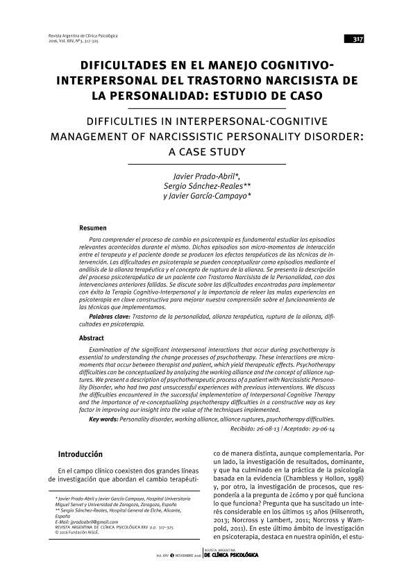 Dificultades en el manejo cognitivointerpersonal del trastorno narcisista de la personalidad: Estudio de caso