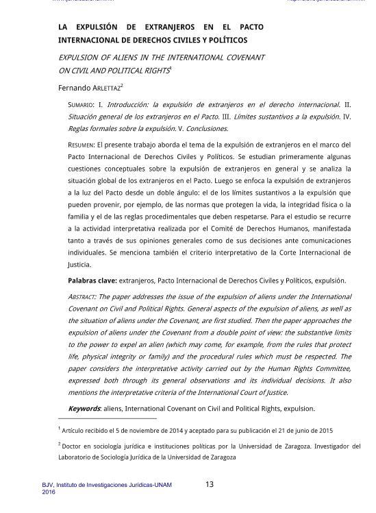 La expulsión de extranjeros en el pacto internacional de derechos civiles y políticos