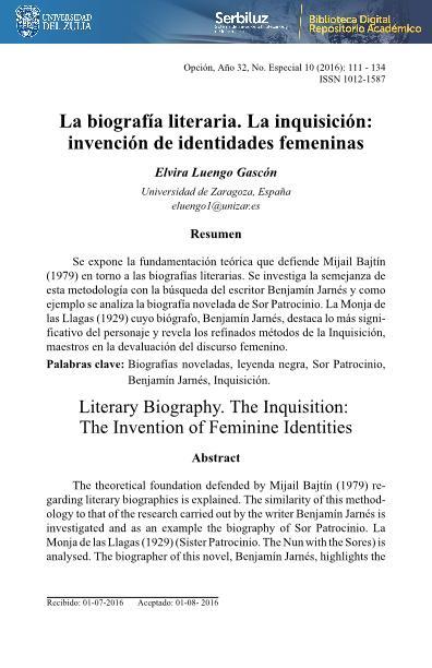 La biografía literaria. La inquisición: Invención de identidades femeninas