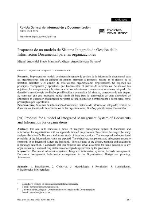 Propuesta de un modelo de Sistema Integrado de Gestión de la Información Documental para las organizaciones