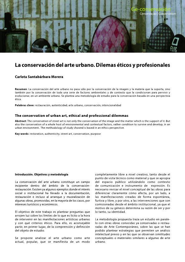 La conservación del arte urbano. Dilemas éticos y profesionales