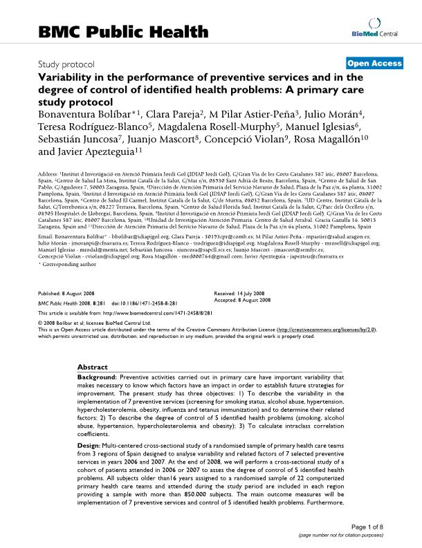 Variability in the performance of preventive services and in the degree of control of identified health problems: A primary care study protocol
