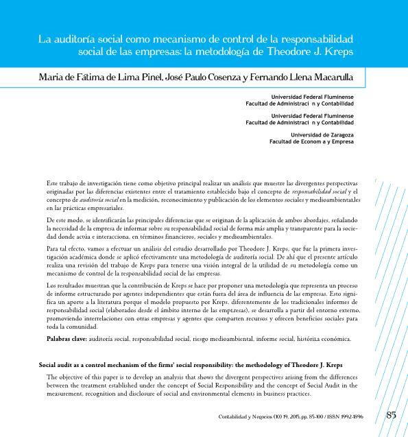 La auditoría social como mecanismo de control de la responsabilidad social de las empresas: la metodología de Theodore J. Kreps