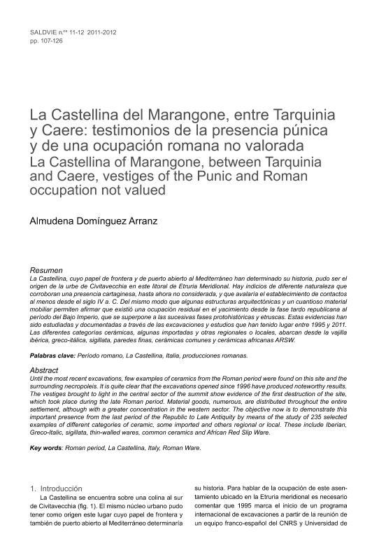 Investigaciones en el castro etrusco de La Castellina del Marangone, entre Tarquinia y Caere: vestigios de una ocupación romana no valorada