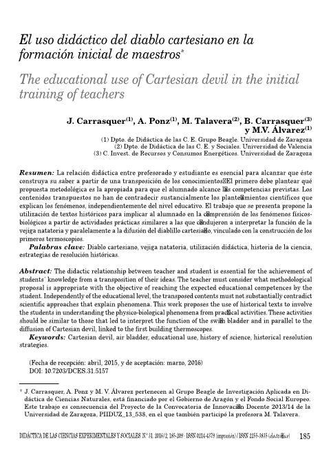 El uso didáctico del diablo cartesiano en la formación inicial de maestros