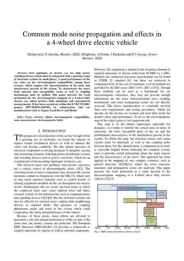 Common mode noise propagation and effects in a four-wheel drive electric vehicle