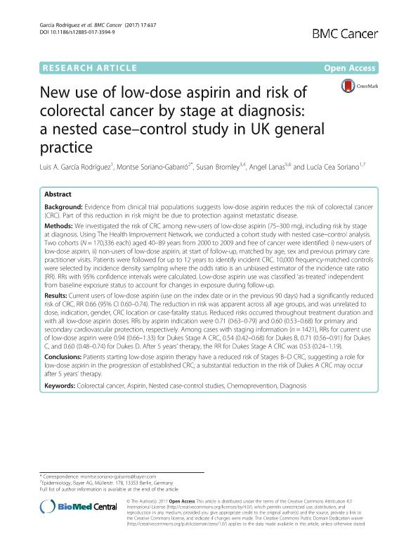 New use of low-dose aspirin and risk of colorectal cancer by stage at diagnosis: A nested case-control study in UK general practice