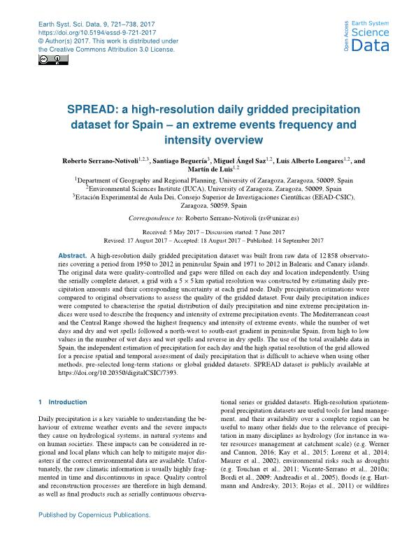 SPREAD: A high-resolution daily gridded precipitation dataset for Spain – an extreme events frequency and intensity overview