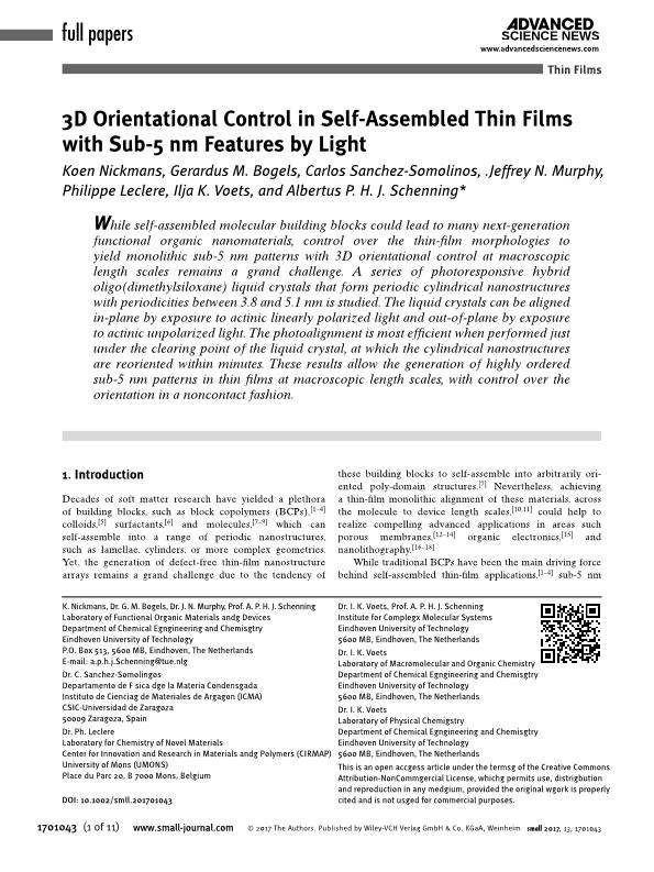 3D Orientational Control in Self-Assembled Thin Films with Sub-5 nm Features by Light