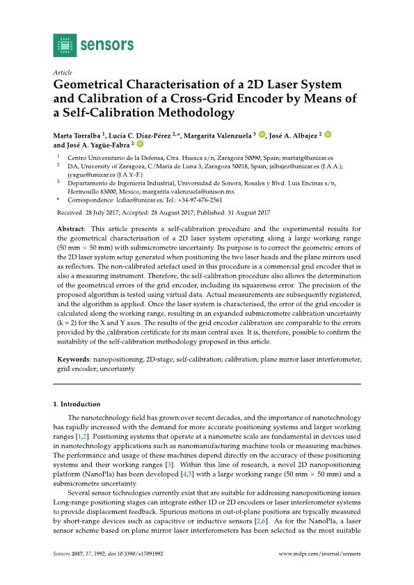 Geometrical characterisation of a 2D laser system and calibration of a cross-grid encoder by means of a self-calibration methodology