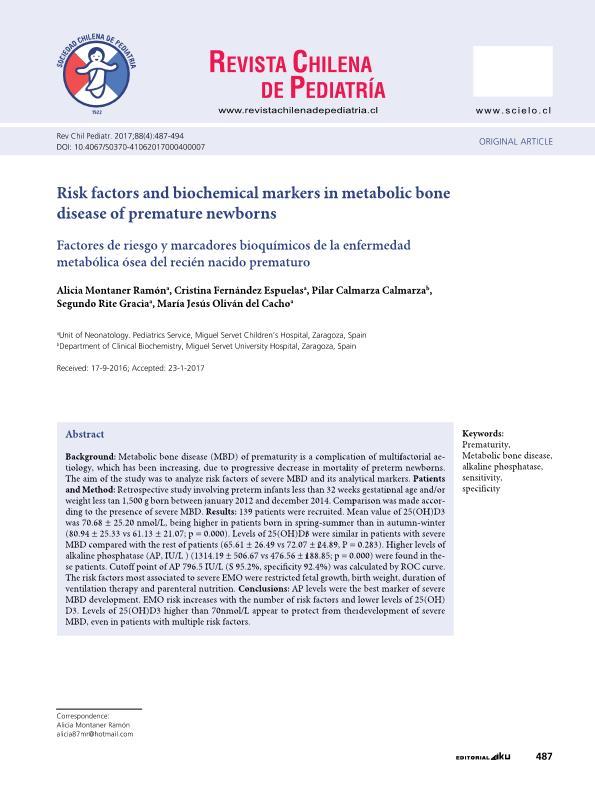 Risk factors and biochemical markers in metabolic bone disease of premature newborns