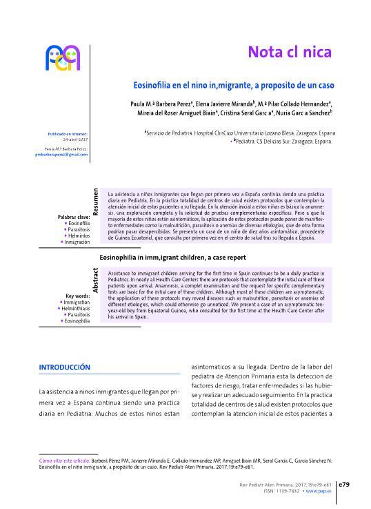 Eosinofilia en el niño inmigrante, a propósito de un caso