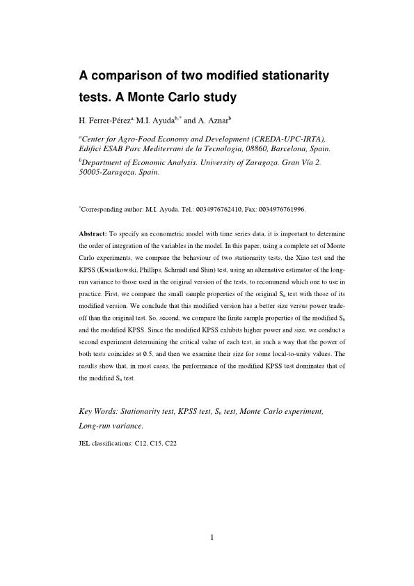 A comparison of two modified stationarity tests. A Monte Carlo study