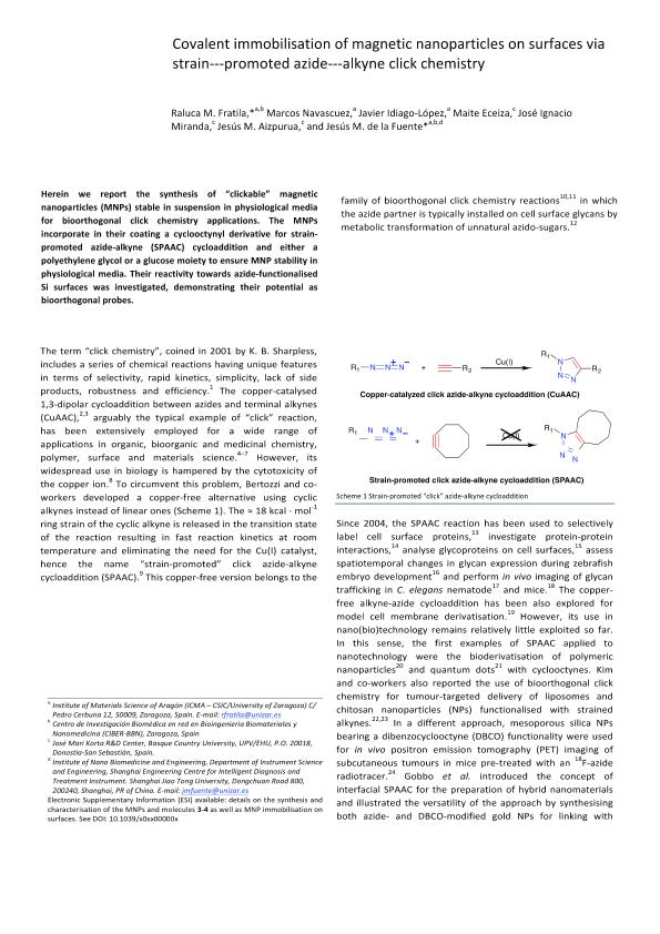 Covalent immobilisation of magnetic nanoparticles on surfaces via strain-­promoted azide-­alkyne click chemistry