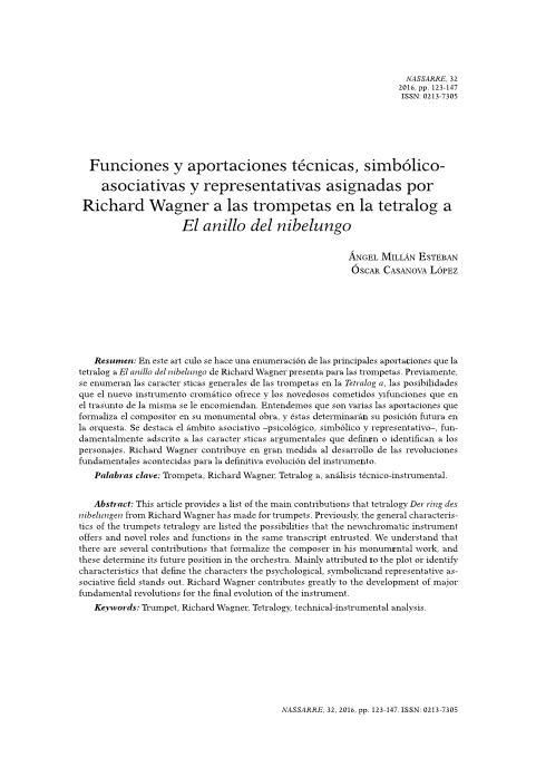 Funciones y aportaciones técnicas, simbólico-asociativas y representativas asignadas por Richard Wagner a las trompetas en la tetralogía El anillo del nibelungo