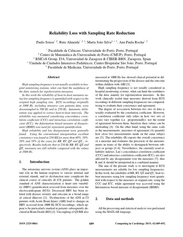 Reliability loss with sampling rate reduction