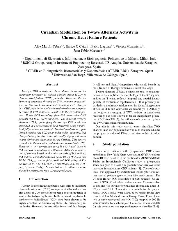 Circadian modulation on T-wave alternans activity in chronic heart failure patients