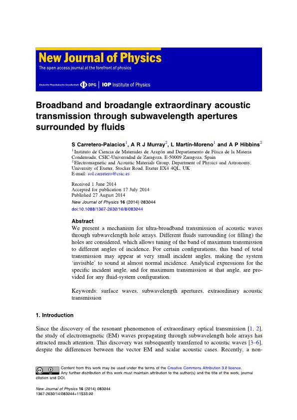 Broadband and broadangle extraordinary acoustic transmission through subwavelength apertures surrounded by fluids