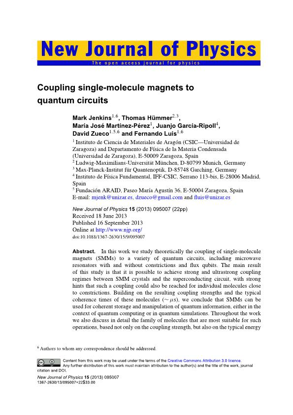 Coupling single-molecule magnets to quantum circuits