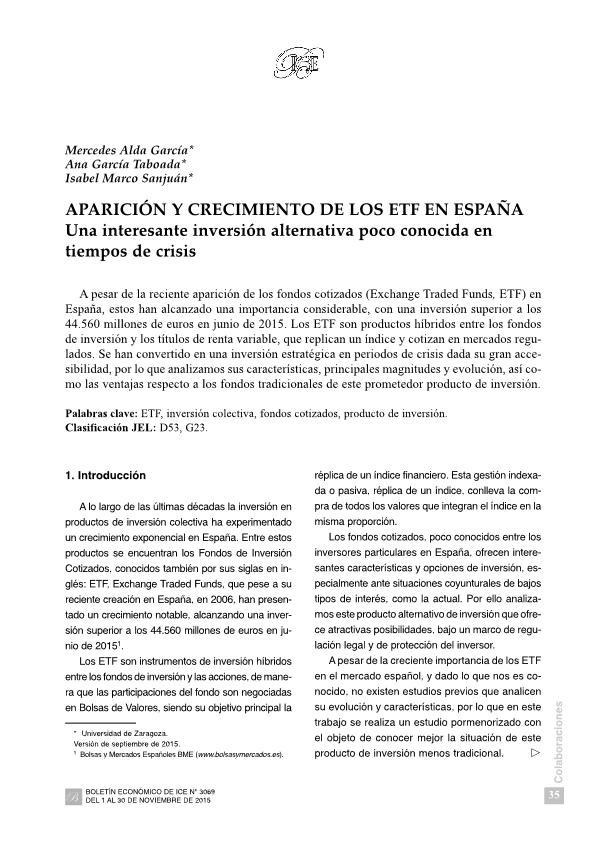 Aparición y crecimiento de los ETF en españa: una interesante inversión alternativa poco conocida en tiempos de crisis