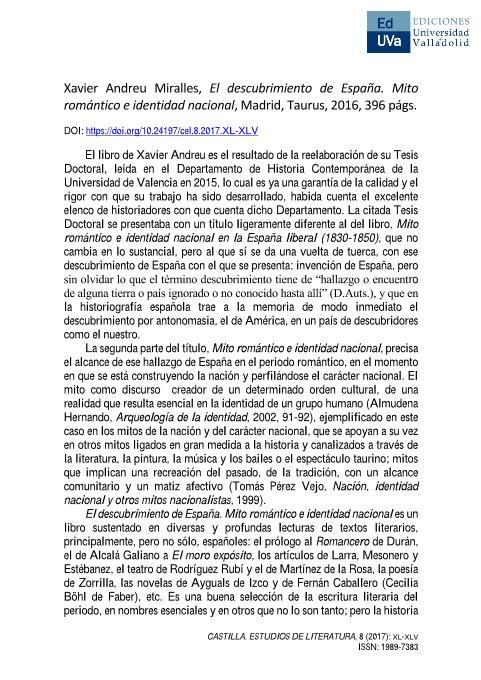 Xavier Andreu Miralles, El descubrimiento de España. Mito romántico e identidad nacional, Madrid, Taurus, 2016