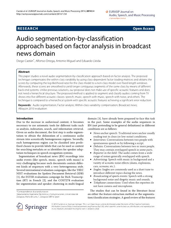 Audio segmentation-by-classification approach based on factor analysis in broadcast news domain