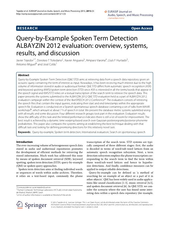 Query-by-example spoken term detection ALBAYZIN 2012 evaluation: Overview, systems, results, and discussion