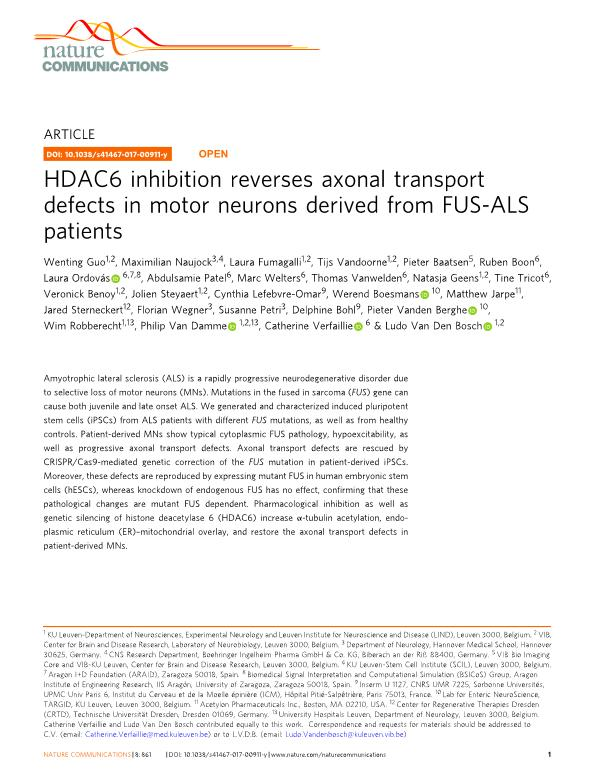 HDAC6 inhibition reverses axonal transport defects in motor neurons derived from FUS-ALS patients