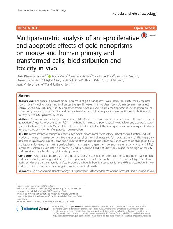 Multiparametric analysis of anti-proliferative and apoptotic effects of gold nanoprisms on mouse and human primary and transformed cells, biodistribution and toxicity in vivo