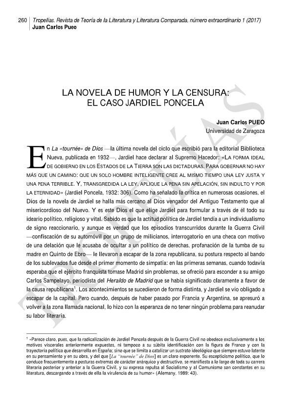 La novela de humor y la censura: el caso Jardiel Poncela