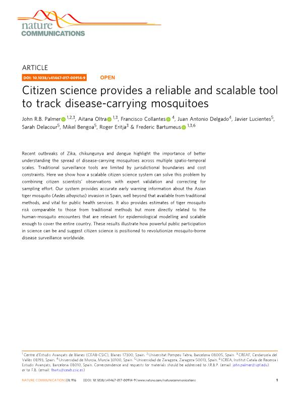 Citizen science provides a reliable and scalable tool to track disease-carrying mosquitoes