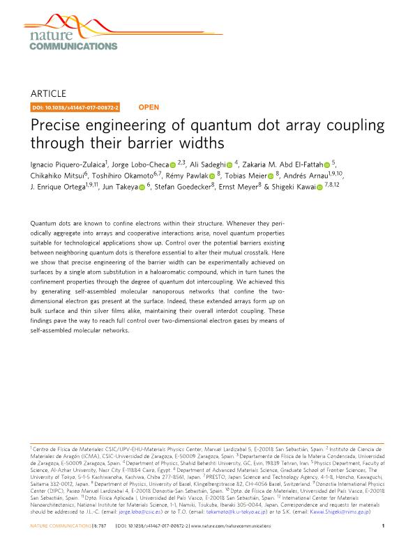 Precise engineering of quantum dot array coupling through their barrier widths