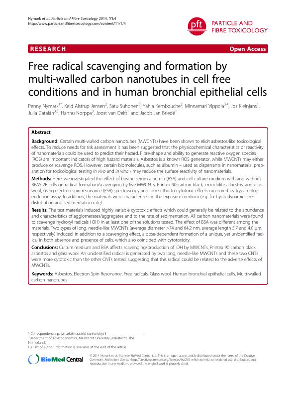 Free radical scavenging and formation by multi-walled carbon nanotubes in cell free conditions and in human bronchial epithelial cells