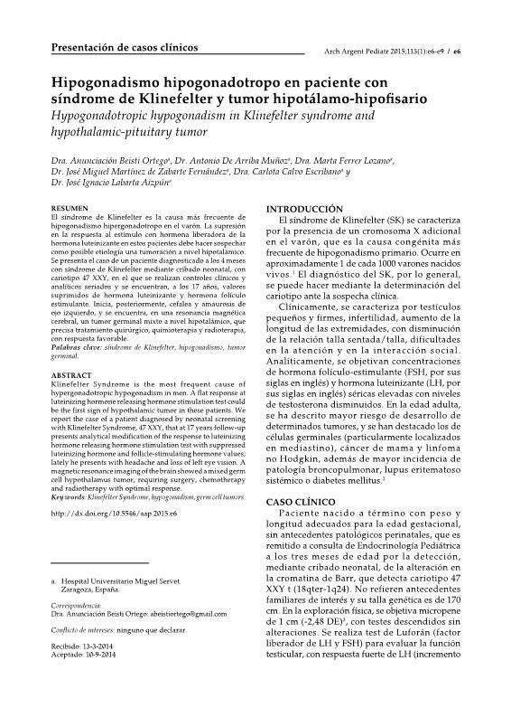 Hypogonadotropic hypogonadism in Klinefelter syndrome and hypothalamic-pituitary tumor