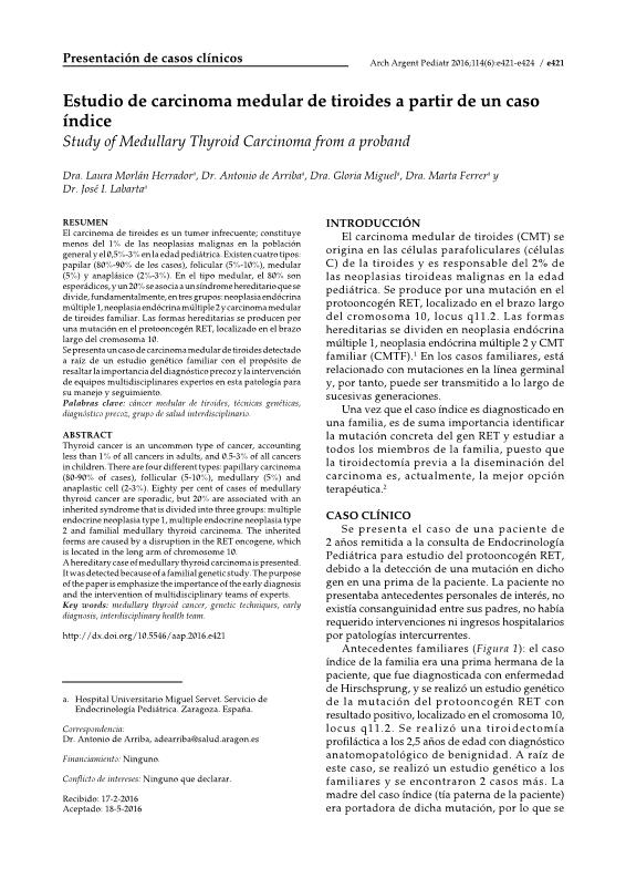 Estudio de carcinoma medular de tiroides a partir de un caso índice