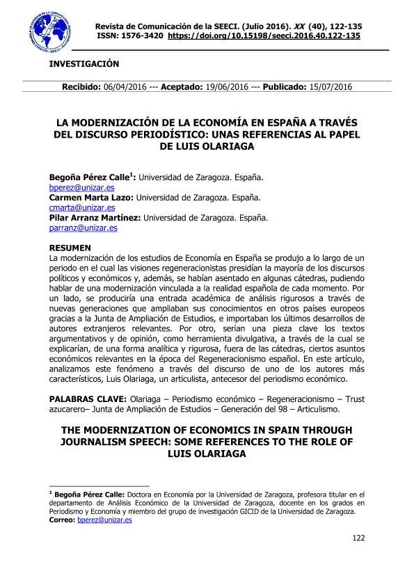 La modernización de la economía en España a través del discurso periodístico: unas referencias al papel de Luis Olariaga