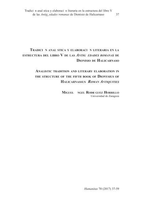 Tradición analística y elaboración literaria en la estructura del libro V de las Antigüedades romanas de Dionisio de Halicarnaso