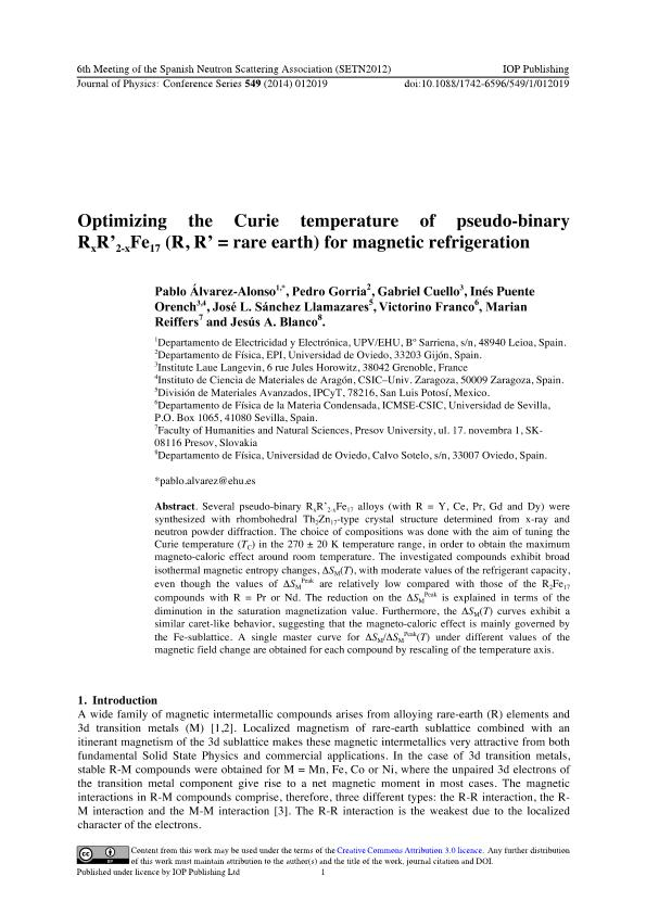 Optimizing the Curie temperature of pseudo-binary RxR''2-xFe17 (R, R'' = rare earth) for magnetic refrigeration