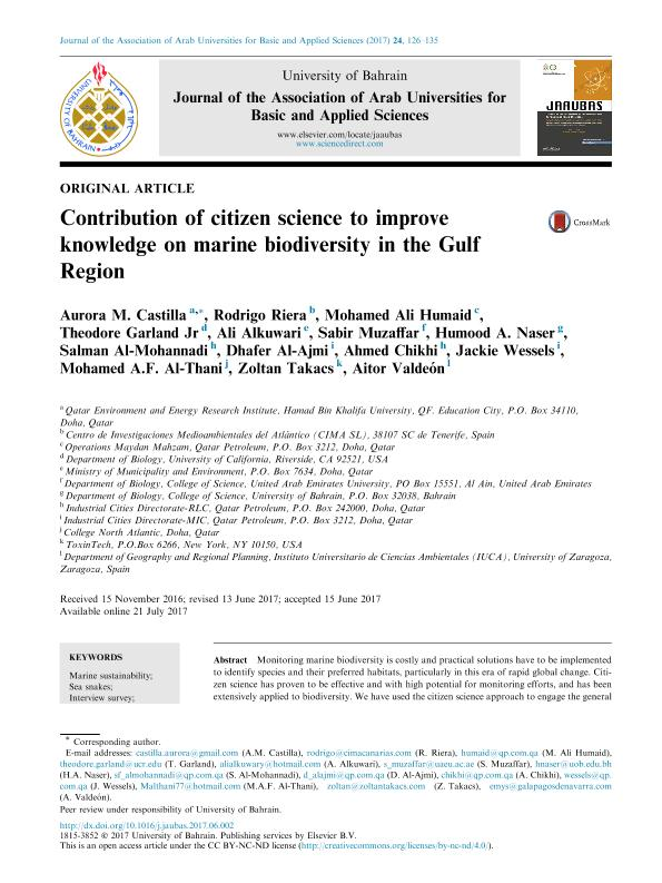 Contribution of citizen science to improve knowledge on marine biodiversity in the Gulf Region
