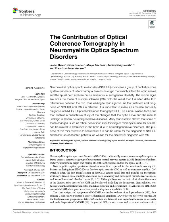 The contribution of optical coherence tomography in neuromyelitis optica spectrum disorders