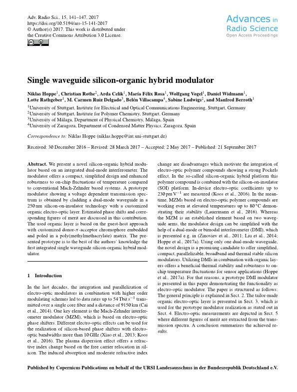 Single waveguide silicon-organic hybrid modulator