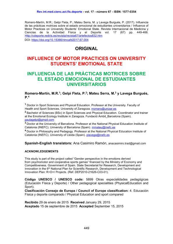 Influence of motor practices on university students' emotional state [Influencia de las prácticas motrices sobre el estado emocional de estudiantes universitarios]