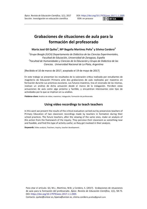 Grabaciones de situaciones de aula para la formación del profesorado