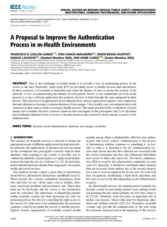 A proposal to improve the authentication process in m-health environments