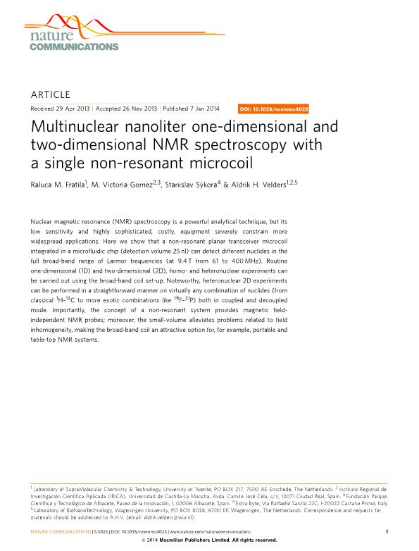 Multinuclear nanoliter one-dimensional and two-dimensional NMR spectroscopy with a single non-resonant microcoil
