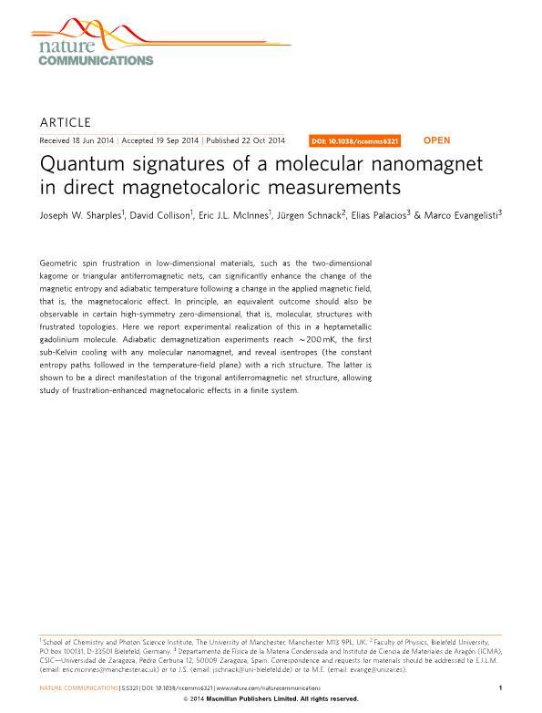 Quantum signatures of a molecular nanomagnet in direct magnetocaloric measurements