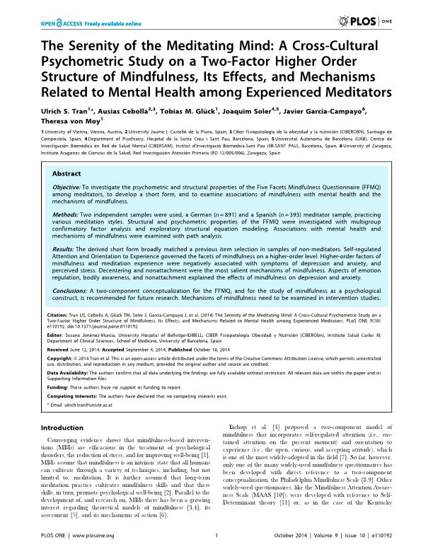The serenity of the meditating mind: A cross-cultural psychometric study on a two-factor higher order structure of mindfulness, its effects, and mechanisms related to mental health among experienced meditators
